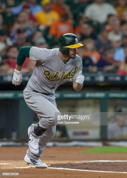 Oakland Athletics left fielder Matt Joyce sprints to first base during the MLB game between the Oakland Athletics and Houston Astros on August 20...