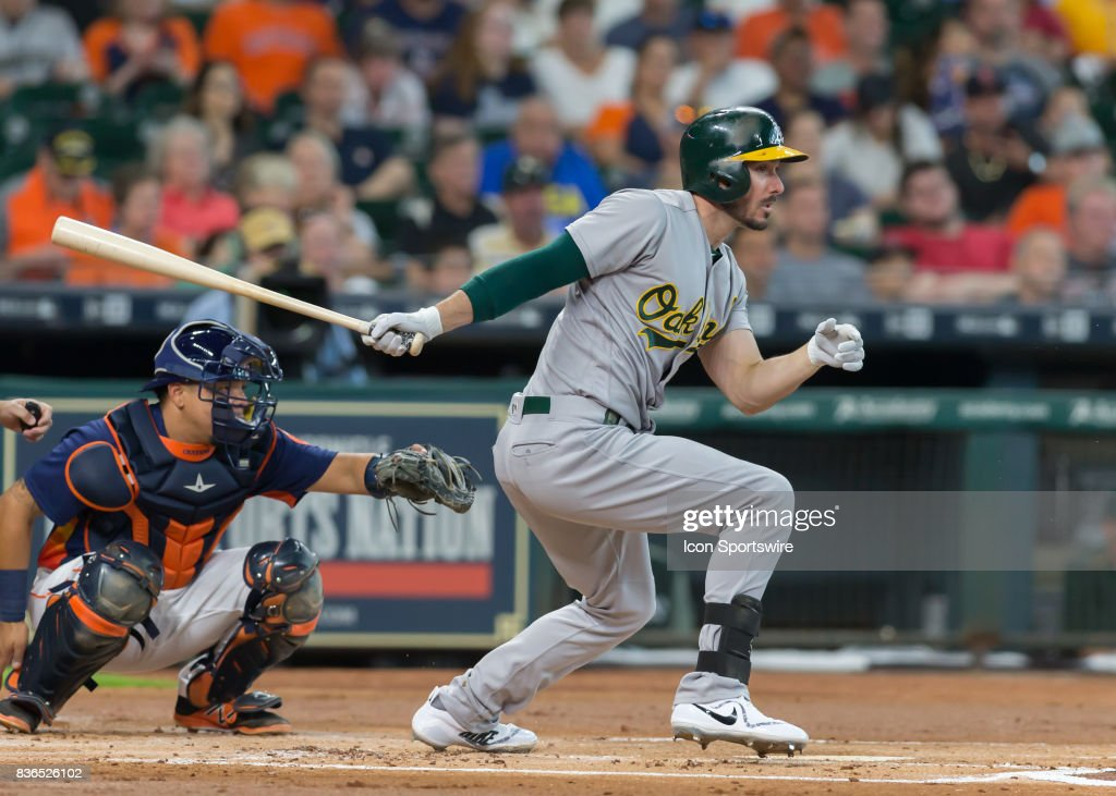 Oakland Athletics left fielder Matt Joyce (23) watches his ball during the  MLB game