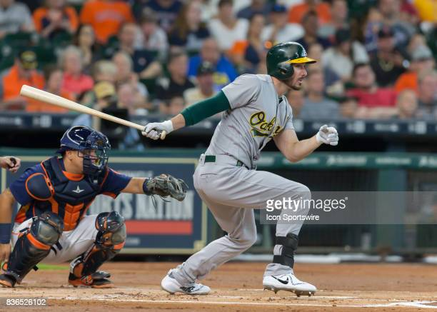 Oakland Athletics left fielder Matt Joyce watches his ball during the MLB game between the Oakland Athletics and Houston Astros on August 20 2017 at...