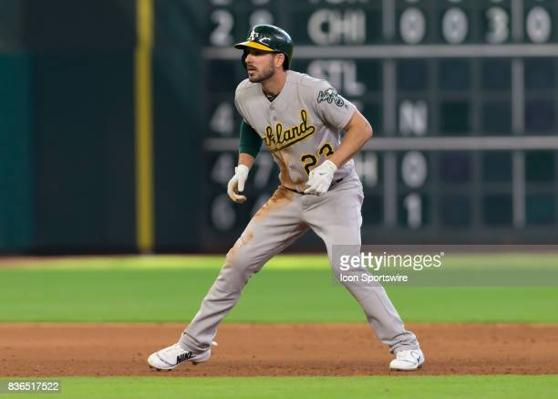 Oakland Athletics left fielder Matt Joyce watches the batter during the MLB game between the Oakland Athletics and Houston Astros on August 20 2017...