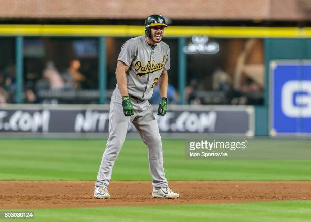 Oakland Athletics left fielder Matt Joyce watches the pitch during the MLB game between the Oakland Athletics and Houston Astros on June 27 2017 at...