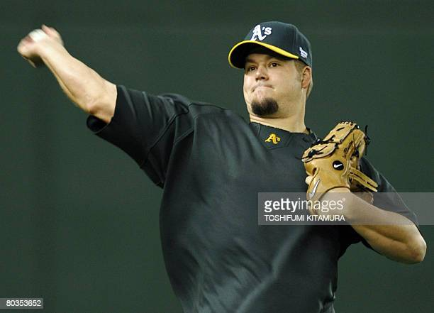 Oakland Athletics pitcher Joe Blanton throws the ball during the training session at the Tokyo Dome on March 24 2008 Athletics is here to hold...