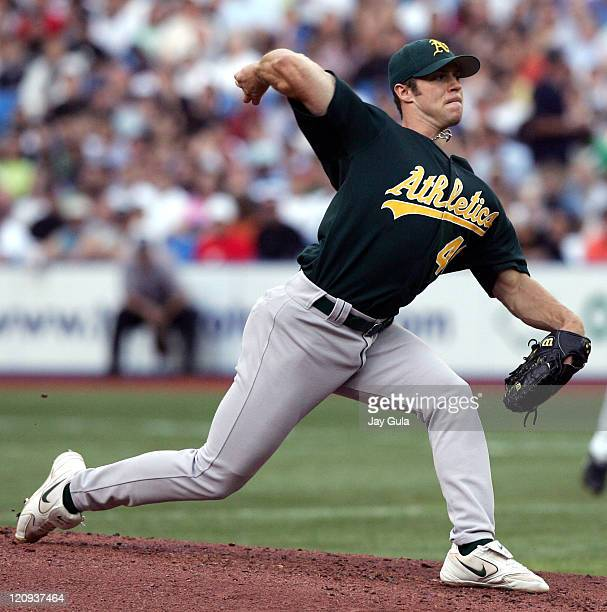 Oakland Athletics Pitcher Rich Harden started against the Toronto Blue Jays in MLB action at Rogers Centre in Toronto Canada on July 7 2005
