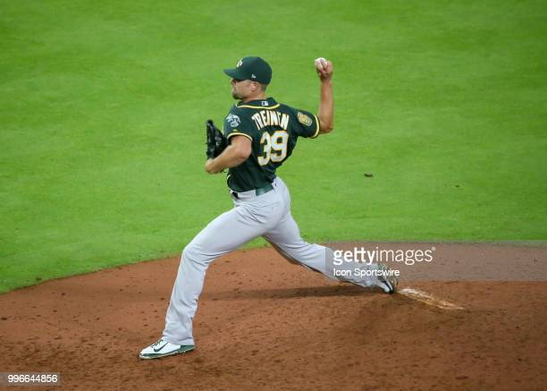 Oakland Athletics relief pitcher Blake Treinen takes over the mound in the top of the ninth inning during the baseball game between the Oakland...