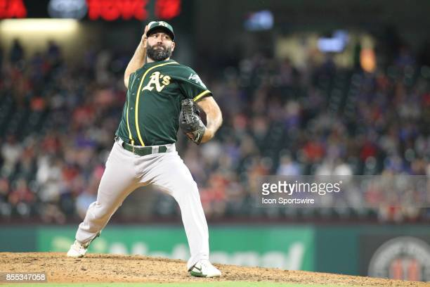 Oakland Athletics relief pitcher Chris Hatcher delivers a pitch during the game between the Texas Rangers and Oakland Athletics on September 28 at...
