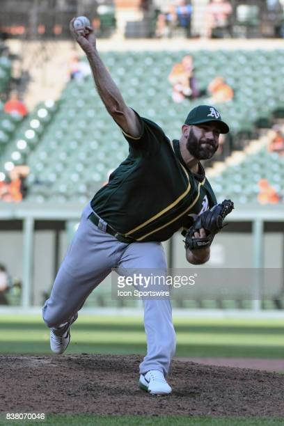 Oakland Athletics relief pitcher Chris Hatcher pitches during an MLB game between the Oakland Athletics and the Baltimore Orioles on August 23 at...