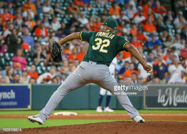 Oakland Athletics relief pitcher Jeurys Familia takes over the mound in the bottom of the ninth inning during the baseball game between the Oakland...