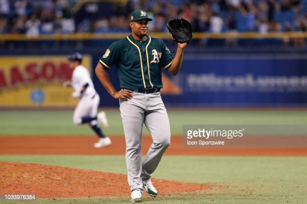 Oakland Athletics relief pitcher Jeurys Familia waits for a new ball after giving up a 3-run homer to Tampa Bay Rays first baseman Jake Bauers in the...