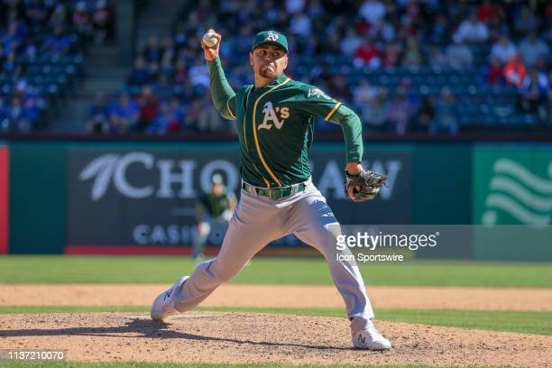 Oakland Athletics relief pitcher Joakim Soria pitches during the 8th inning between the Oakland Athletics and Texas Rangers on April 14 2019 at Globe...