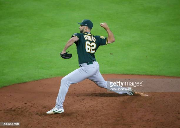 Oakland Athletics relief pitcher Lou Trivino takes over the mound in the bottom of the seventh inning during the baseball game between the Oakland...