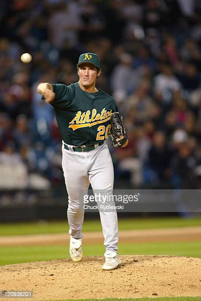 Oakland Athletics' Reliever Huston Street attempts a pickoff during their game against the Chicago White Sox May 22 2006 at US Cellular Field in...