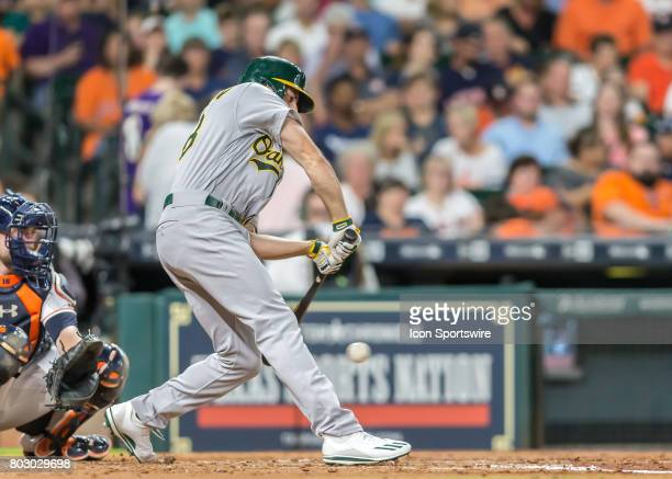 Oakland Athletics right fielder Matt Olson strikes out swinging during the MLB game between the Oakland Athletics and Houston Astros on June 27 2017...