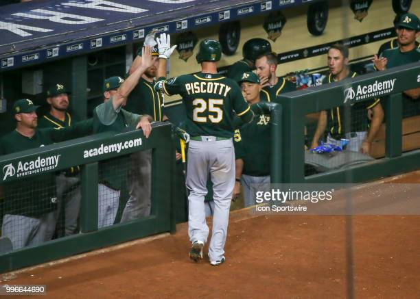 Oakland Athletics right fielder Stephen Piscotty hits a homer int the top of the seventh inning during the baseball game between the Oakland...
