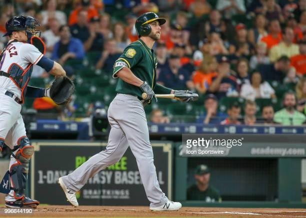 Oakland Athletics second baseman Jed Lowrie reacts after striking out in the top of the first inning during the baseball game between the Oakland...