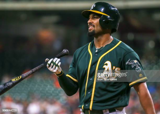 Oakland Athletics shortstop Marcus Semien reacts after striking out in the third inning during the baseball game between the Oakland Athletics and...