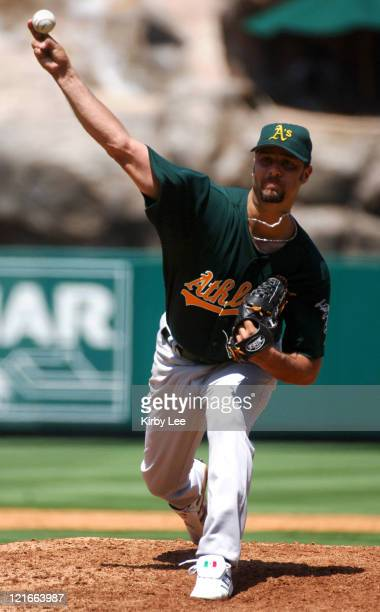 Oakland Athletics starter Esteban Loaiza pitches during 32 victory over the Los Angeles Angels of Anaheim at Angel Stadium in Anaheim Calif on...