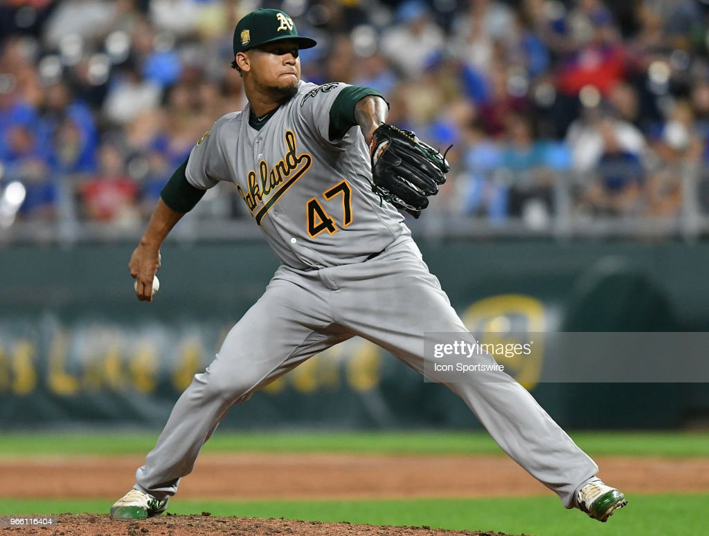 Oakland Athletics starting pitcher Frankie Montas (47) pitches in the sixth inning during a Major League Baseball game between the Oakland Athletics and the Kansas City Royals on June 01, 2018, at Kauffman Stadium, Kansas City, MO.