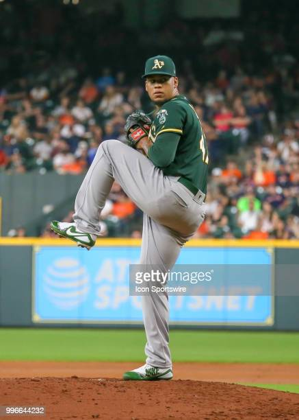 Oakland Athletics starting pitcher Frankie Montas prepares to throw a pitch during the baseball game between the Oakland Athletics and Houston Astros...