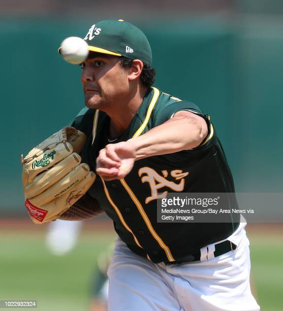Oakland Athletics starting pitcher Sean Manaea throws against the Houston Astros during the first inning of their game on Sunday Aug 19 in Oakland...