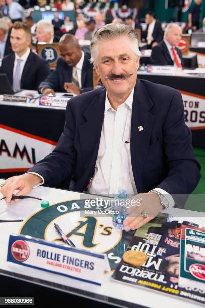 Oakland Athletics team rep HOF Rollie Fingers during the 2018 Major League Baseball Draft at Studio 42 at the MLB Network on Monday June 4 2018 in...