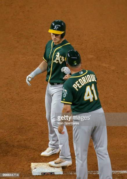 Oakland Athletics third baseman Matt Chapman gets on first base in the top of the seventh inning during the baseball game between the Oakland...