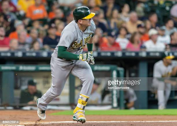 Oakland Athletics third baseman Matt Chapman hit a pop fly in the second inning of the MLB game between the Oakland Athletics and Houston Astros on...