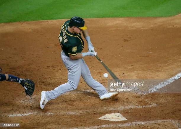Oakland Athletics third baseman Matt Chapman hits a foul ball in the top of the seventh inning during the baseball game between the Oakland Athletics...