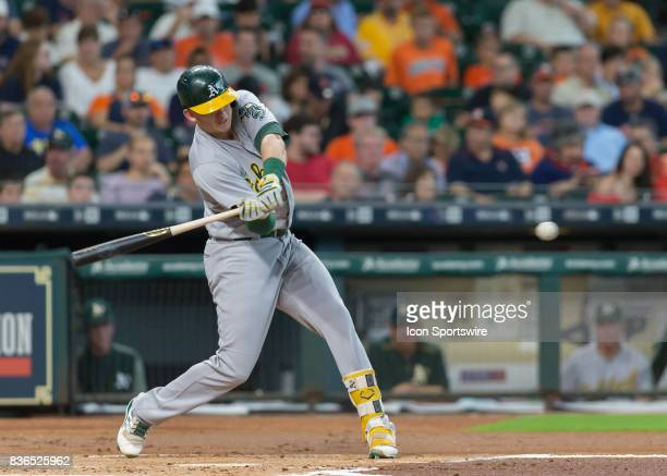 Oakland Athletics third baseman Matt Chapman pops out to second base in the second inning of the MLB game between the Oakland Athletics and Houston...