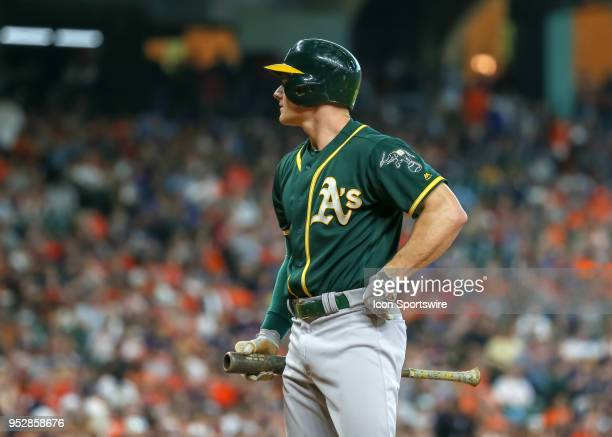Oakland Athletics third baseman Matt Chapman reacts after striking out in the top of the second inning during the baseball game between the Oakland...