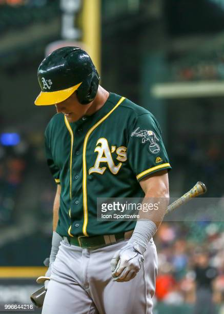 Oakland Athletics third baseman Matt Chapman reacts after striking out in the top of the third inning during the baseball game between the Oakland...