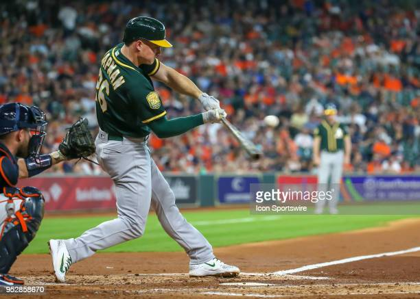 Oakland Athletics third baseman Matt Chapman strikes out in the top of the second inning during the baseball game between the Oakland Athletics and...