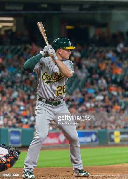 Oakland Athletics third baseman Matt Chapman watches the pitch during the MLB game between the Oakland Athletics and Houston Astros on August 20 2017...