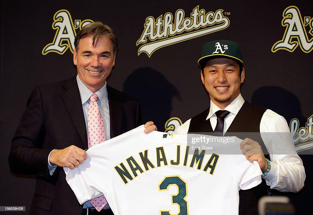 Oakland Athletics Introduce Hiroyuki Nakajima : News Photo