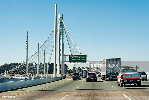 Oakland Bay Bridge with traffic while crossing