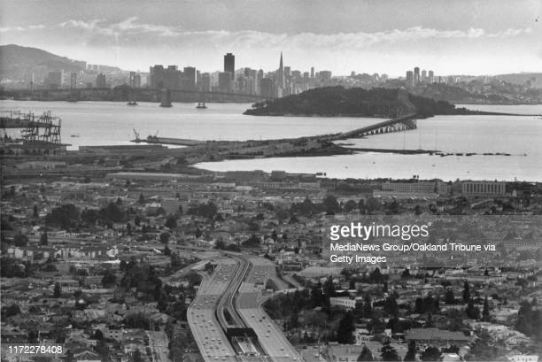 Oakland, CA April 21, 1980 - View of West Oakland, the Grove Shafter Bay Bridge and San Francisco skyline.