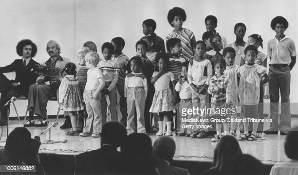 Oakland CA August 17 1978 Huey Newton sits with Preston Collins await for students from the Black Panther School to sing #13Published August 18...