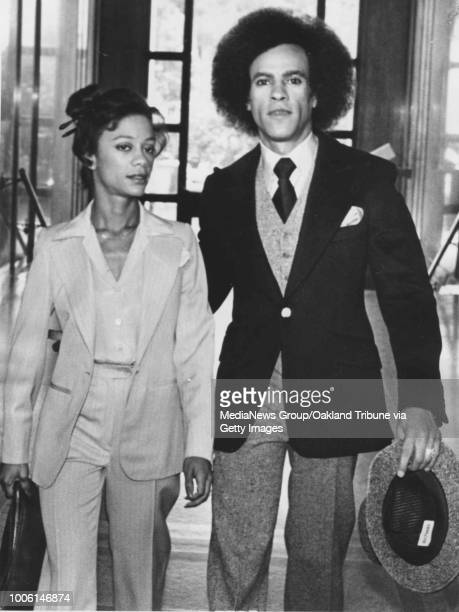 Oakland CA August 21 1978 Huey Newton and wife Gwen appear at Alameda County Court for Huey's assault trial #13#13Published