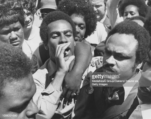 Oakland CA August 5 1970 Huey Newton addresses a crowd outside the Alameda County Court House after he was released on bail during trial for the...