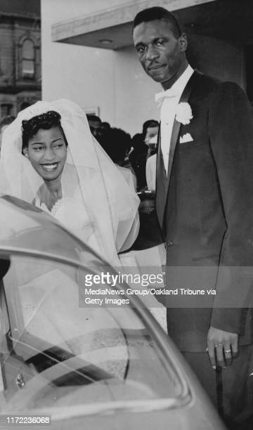 Oakland CA December 9 1956 Basketball star Bill Bussel and his bride Rose Swisher outside of the Taylor Memorial Methodist Church #13#13Published...