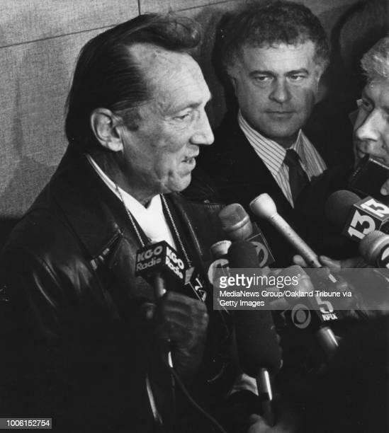 Oakland CA January 12 1990 Raiders owner Al Davis left and Alameda County Supervisor Don Perata at the Oakland Coliseum where Davis and Oakland...