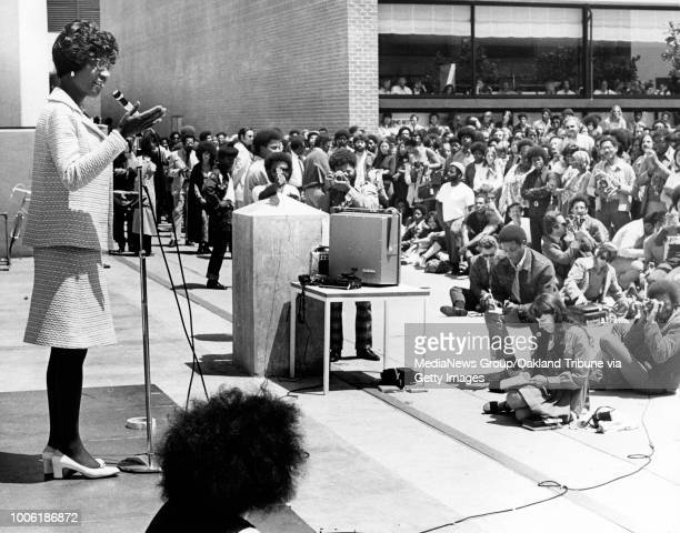 Oakland CA May 18 1972 Shirley Chisholm speaks at Laney Community College during her presidential campaign