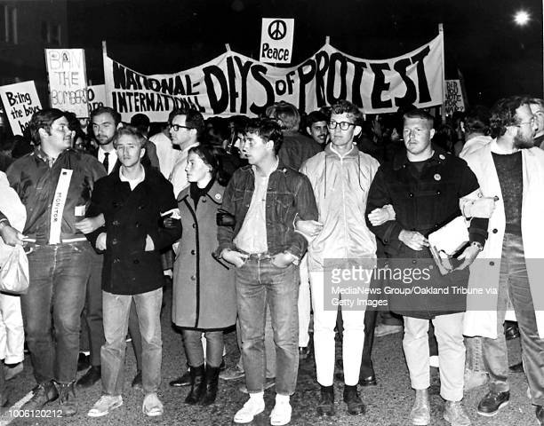 An early Bay Area antiVietnam War march 'International Days of Protest Against American Military Intervention' organized by students at the...