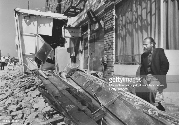 Oakland CA October 18 1989 James Fish sits on a bucket at 2900 San Pablo Avenue where he said he was when the quake hit #13