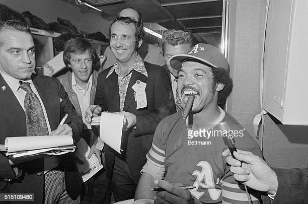 The Most Valuable Player of the 1973 World Series Oakland A's outfielder Reggie Jackson smokes a victory cigar after the A's won their second...