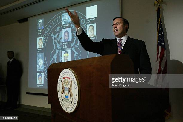 Oakland County Prosecutor David Gorcyca talks to the media after presenting video evidence on the brawl during a Detroit Pistons basketball game at...