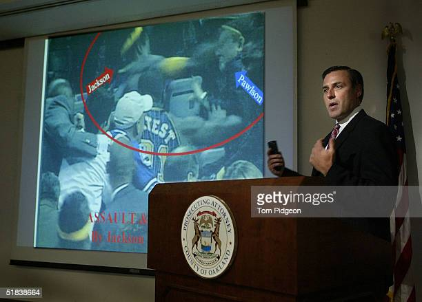 Oakland County Prosecutor David Gorcyca talks to the media while presenting video evidence on the brawl during a Detroit Pistons basketball game at...