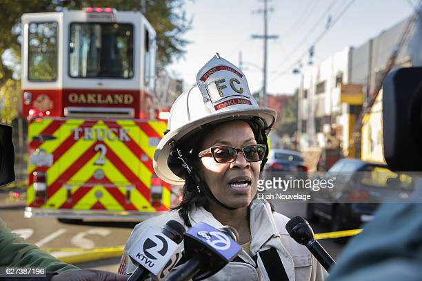 Oakland Fire Chief Teresa Deloach Reed speaks to the press following an overnight fire that claimed the lives of at least nine people at a warehouse...