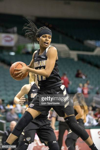 Oakland Golden Grizzlies F Hannah Little pulls down a rebound during the first quarter of the women's college basketball game between the Oakland...