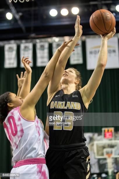 Oakland Golden Grizzlies F Leah Somerfield is foulded by Cleveland State Vikings F Sierra Davidson during the second quarter of the women's college...