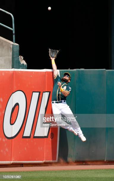 Oakland LF Nick Martini goes high to try to snag the HR ball hit by Houston DH Evan Gattis during the Houston Astros and Oakland A's game on August...